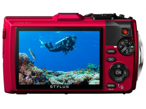 Цифровой фотоаппарат Olympus Tough TG-4, красный, вид 3