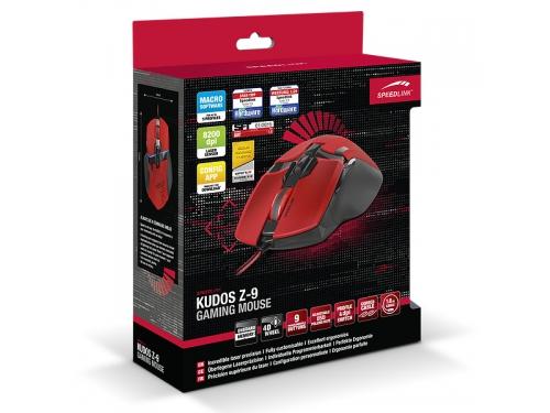 Мышка Speedlink KUDOS Z-9 RED (USB), красная, вид 5