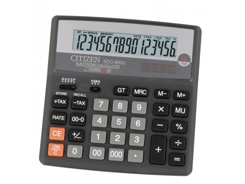 Калькулятор Citizen SDC-660II, 16-разрядный (чёрный), вид 1