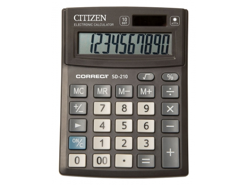 Калькулятор Citizen Correct SD-210 Чёрный, вид 1