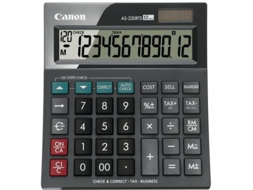 Калькулятор Canon AS-220RTS, 12-разрядный, чёрный, вид 1