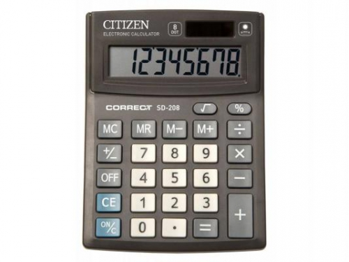 Калькулятор Citizen Correct SD-208 8-разрядный чёрный, вид 1
