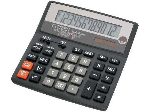 Калькулятор Citizen SDC-620 II 12-разрядный чёрный, вид 1