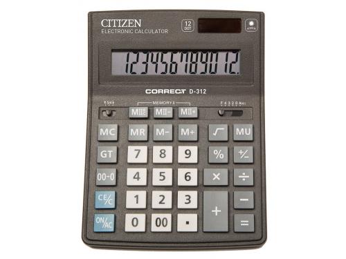 Калькулятор Citizen Correct D-312 12-разрядный чёрный, вид 1