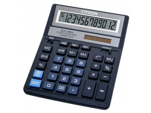 Калькулятор Citizen SDC-888XBL 12-разрядный тёмно-синий, вид 1