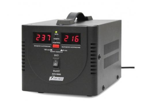 Стабилизатор напряжения Powerman AVS 500D (релейный, 220 В, 500 ВА), чёрный, вид 1