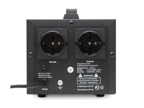 Стабилизатор напряжения Powerman AVS 500D (релейный, 220 В, 500 ВА), чёрный, вид 2