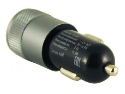 Зарядное устройство автомобильное, Buro 2.1A+1A универсальное (TJ-189), черный, вид 3