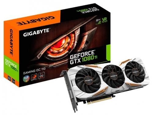 Видеокарта GeForce Gigabyte GeForce GTX 1080 Ti 1544Mhz PCI-E 3.0 11264Mb 11010Mhz 352 bit DVI HDMI HDCP Gaming OC [GV-N108TGAMING OC-11GD], вид 1