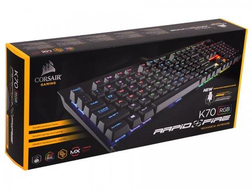 Клавиатура Corsair K70 RGB Rapidfire Cherry MX Speed silver RGB (CH-9101014-RU), черная, вид 12