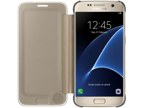 Чехол для смартфона Samsung для Samsung Galaxy S7 Clear View Cover золотистый, вид 1
