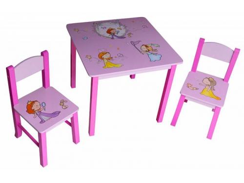Комплект детской мебели Бюрократ KidSet-01/Princ, стол + 2 стула (столешница МДФ 595х595х533, стул 280х300х300 в570), вид 1