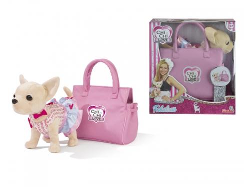 Игрушка мягкая Simba собачка Чихуахуа в платье (с сумкой), вид 1