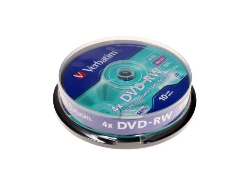 Оптический диск Verbatim DVD-RW 4.7 Gb, 4x, Cake Box (10шт), вид 1