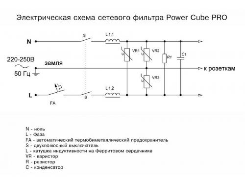 Сетевой фильтр Power Cube PRO, 5 м (розеток 5+1, 10 А, 2200 Вт), чёрный, вид 5