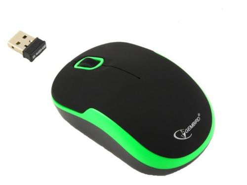 Мышка Gembird MUSW-200 Black-Green USB, черно-зеленая, вид 1