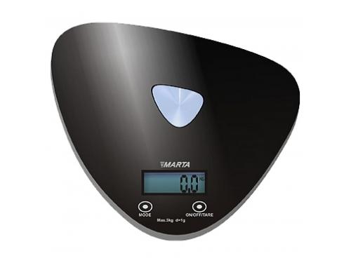 Кухонные весы Marta MT-1632, черные/блестящие, вид 1