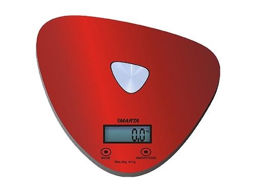 Кухонные весы Marta MT-1632, красные/блестящие, вид 1