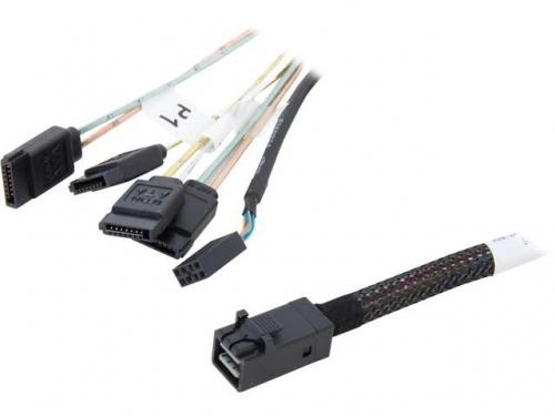 Кабель (шнур) переходник LSI с miniSAS HD (SFF-8643) на 4 x SATA data, 0.6 м (LSI00410), вид 1