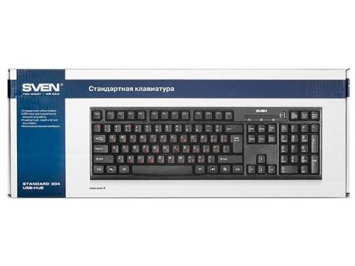 Клавиатура SVEN Standard 304 USB+HUB, Черная, вид 4