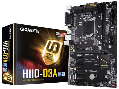 Материнская плата Gigabyte GA-H110-D3A (rev. 1.0) (ATX, LGA1151, Intel H110, 2 x DDR4, VGA, PCI-e 3.0, COM, LPT), вид 1