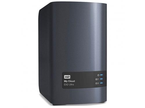 Сетевой накопитель WD My Cloud EX2 Ultra 8 Tb (2x USB3, LAN, WDBSHB0080JCH-EEUE), чёрный, вид 1