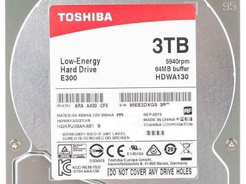 Жесткий диск Toshiba HDWA130UZSVA (E300, 3Tb, 3.5'', SATA3, 5940rpm), вид 3