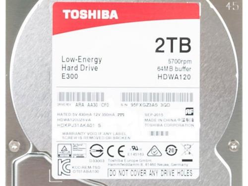 Жесткий диск Toshiba HDWA120UZSVA (E300, 2Tb, 3.5'', SATA3, 5700rpm), вид 3