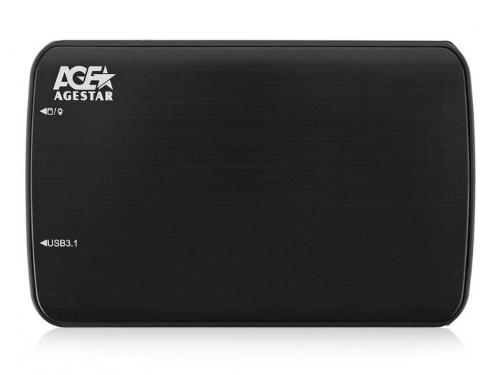 Корпус для жесткого диска AgeStar 31UB2A12C (2.5'', SATA - microUSB3.1c), чёрный, вид 1