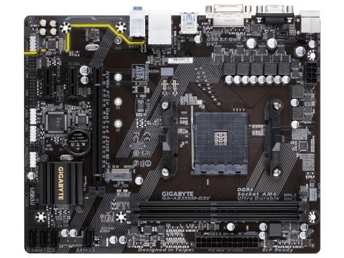 Материнская плата Gigabyte GA-AB350M-D3V Soc-AM4, AMD, mATX, DDR4, SATA 3, USB 3.0, вид 2