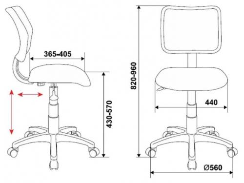 Компьютерное кресло Бюрократ CH-295/LB/MARK-LB голубой марки, вид 2
