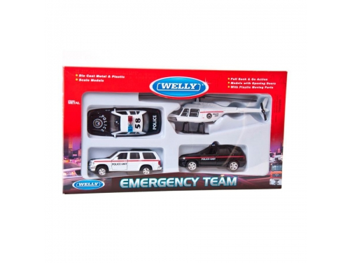 Товар для детей Welly, набор машин Полиция, 4 шт., вид 2
