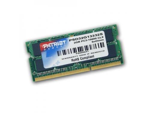 Модуль памяти DDR-3 Patriot Memory PSD32G13332S 2048 Mb, SODIMM, 1,5V, вид 1
