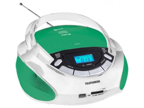 Магнитола  Telefunken TF-CSRP3492B, зеленая/белая, вид 1