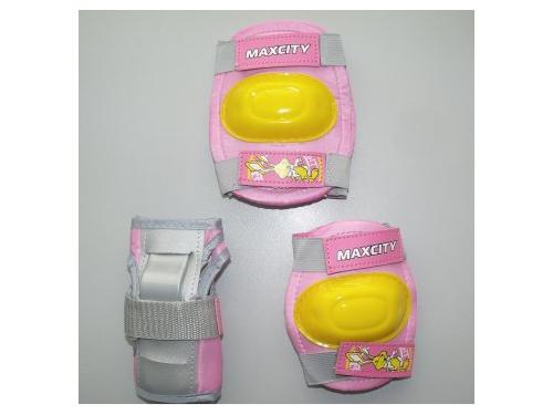 Защита роликовая MaxCity Little Rabbit р. S, розовая, вид 1