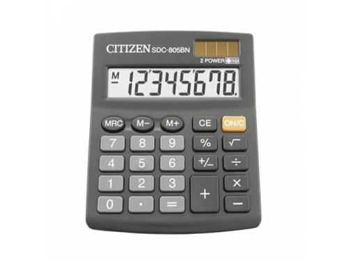 Калькулятор Citizen SDC-805BN 8-разрядный, чёрный, вид 1