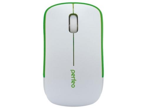 Мышь Perfeo PF-763-WOP-W/G USB, бело-зеленая, вид 1