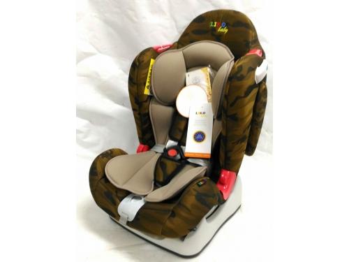 Автокресло детское Liko Baby LB-510 (до 25 кг), коричневое/камуфляж, вид 1