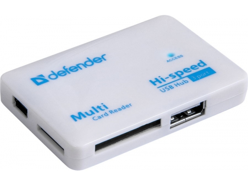 Устройство для чтения карт памяти Defender COMBO TINY (встроенный USB-хаб на 3 порта), вид 1