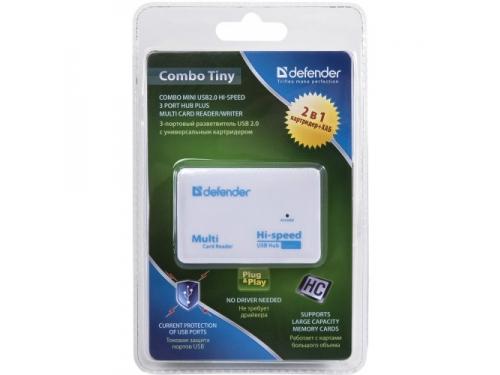 Устройство для чтения карт памяти Defender COMBO TINY (встроенный USB-хаб на 3 порта), вид 5