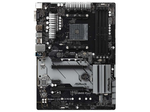 Материнская плата ASRock B450 Pro4 Soc-AM4, AMD, ATX, DDR4, SATA3, USB 3.1, вид 2