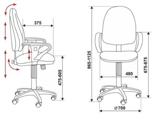 Компьютерное кресло Бюрократ T-612AXSN/Grey JP-15-1, вид 4