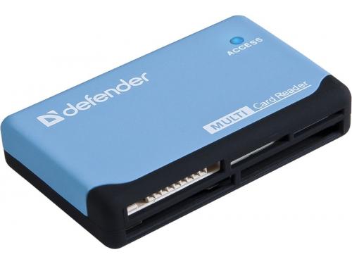 Устройство для чтения карт памяти Defender Ultra USB 2.0, 5 слотов, чёрно-голубой, вид 1