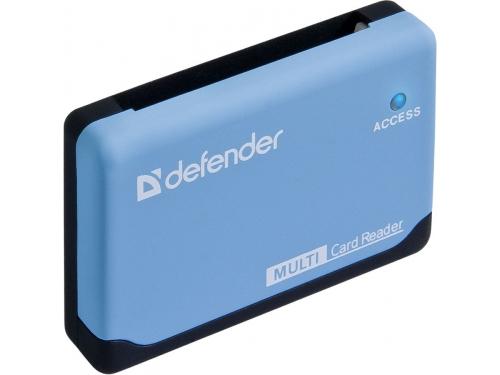 Устройство для чтения карт памяти Defender Ultra USB 2.0, 5 слотов, чёрно-голубой, вид 2