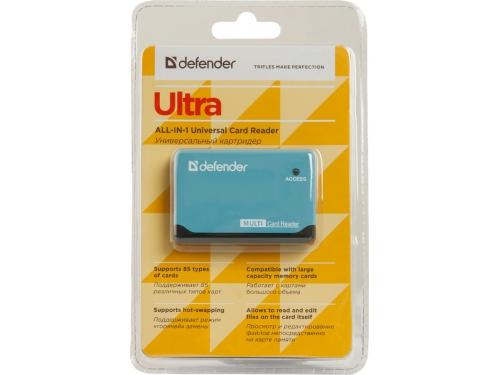 Устройство для чтения карт памяти Defender Ultra USB 2.0, 5 слотов, чёрно-голубой, вид 4