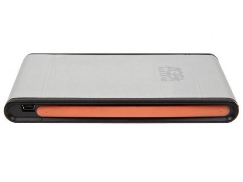 Корпус для жесткого диска AgeStar SUB2A1 (2.5'', miniUSB2.0b), серебристый, вид 3
