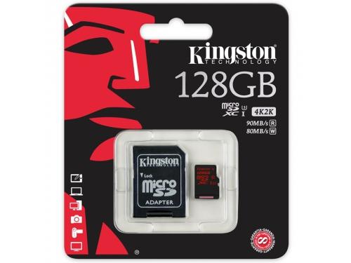 Карта памяти Kingston SDCA3/128GB ( R/W 90/80, с адаптером), вид 1