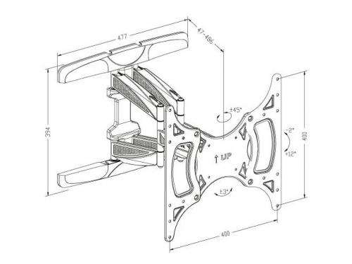 Кронштейн Tuarex OLIMP-8001 (15-55'', до 45 кг, наклон, поворот), чёрный, вид 3