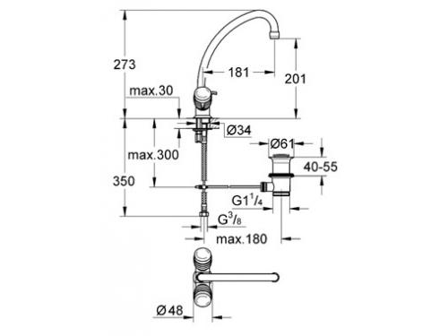 Смеситель Grohe Costa S 21257001 (с донным клапаном), вид 2
