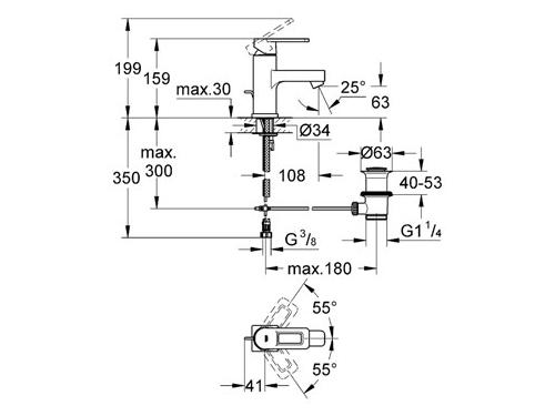 Смеситель Grohe Quadra 32631000 (с донным клапаном), вид 2
